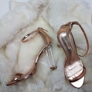Cape Robbin • Gold Metallic Ankle Strap Heels